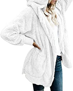 Energy Womens Mid Long Open-Front Velvet Pockets Oversized Hood Coat Jacket