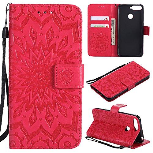 BoxTii Coque Huawei Honor 7A, Etui en Cuir de Première Qualité, Housse Coque pour Huawei Honor 7A (#5 Rouge)