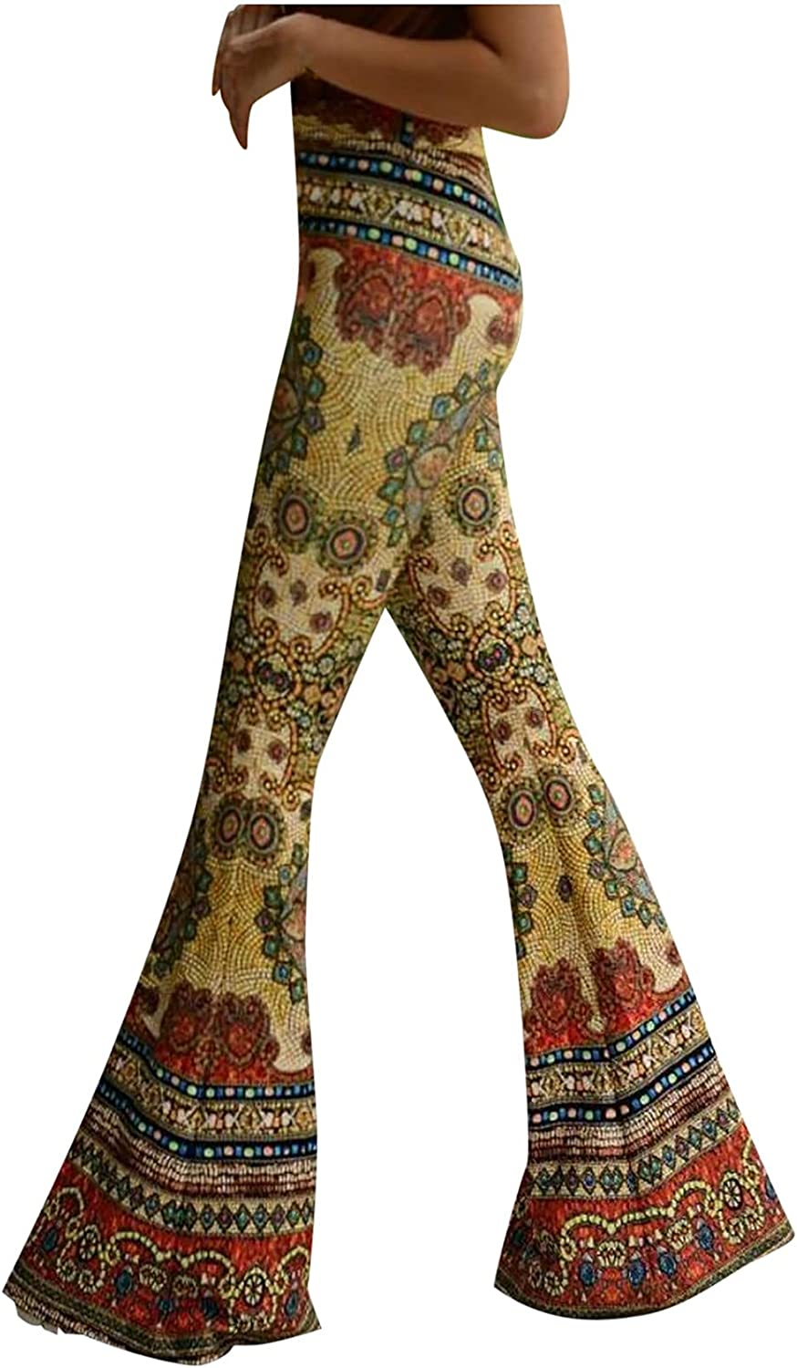 Women's Floral Print Stretch Bell Bottom Flare Tight-Fit Pants Trousers Summer Loose Retro Yoga Slimsuit
