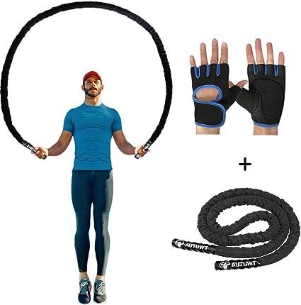 Exercice Physique Crossfit Gym AUTUWT Corde /à Sauter Lourde,Corde /à Sauter Lest/ée pour MMA Boxing Fitness