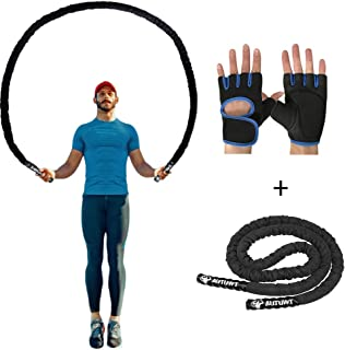 AUTUWT Heavy Jump Rope Skipping Rope Workout Battle Ropes with Gloves for Men Women Total..
