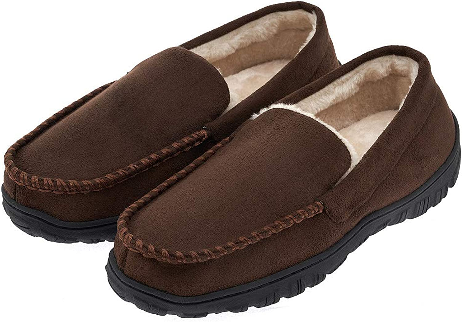 Festooning Men's Plush-Lined Anti-Slip Microsuede Moccasin Slippers shoes Rubber Sole Indoor Outdoor