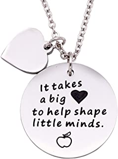 Melix Home Teachers Gifts Appreciation It Takes A Big Heart to Help Shape Little Minds Heart Keyring Keychian Necklace End of The Year Gifts for Teachers Graduation Gifts
