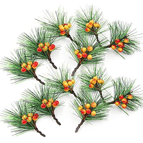 YHNHT, 24 bastoncini artificiali di bacca, 6 cm, mini aghi di pino assortiti per decorazioni natalizie, feste, decorazioni per la casa