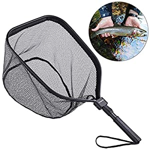 ODDSPRO Fly Fishing Landing Net, Bass Trout Net, Catch and Release Ruber Coating Net – Foldable Fishing Nets Freshwater