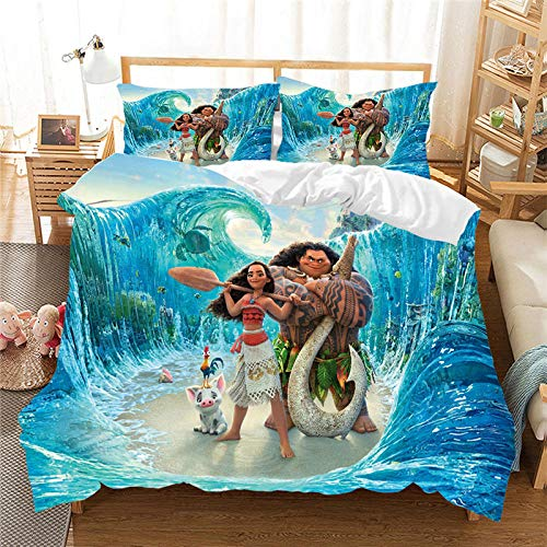 Gvvaceo bedding sets single twin size single 135 x 200 cm duvet cover girl kids bed linens 3d cartoon home textiles+2 Pillowcase 50 X 75 cm Soft Hypoallergenic Brushed Microfibre Cartoon anime char