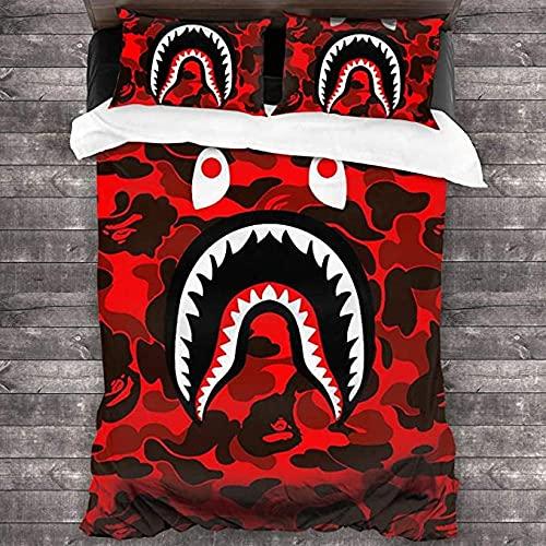 Pościel Typu King Size Usta Rekina Camo Red 3-Częściowy Zestaw Pościeli Pościel Z Mikrofibry Zestaw Poszewek Dla Dzieci I Dorosłych