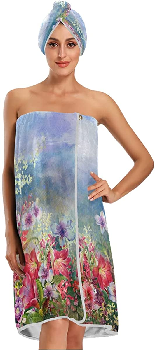 xigua Colorful Flower Watercolor 1 year Surprise price warranty Painting Wrap Body Spa Women's