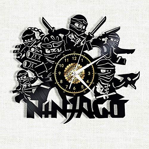 SKYTY Vinyl-Wanduhr - Ninjago - Retro-Atmosphäre Silhouette Rekord Handgemachtes Geschenk Cool Home Art Decor Mit Led-Licht 12 Zoll