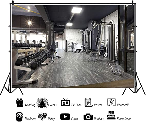 8x12 FT Fitness Vinyl Photography Background Backdrops,Fitness Club on Wooden Planks Backdrop Aerobics Energy Training Print Background for Graduation Prom Dance Decor Photo Booth Studio Prop Banner