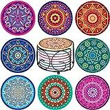 Absorbing Stone Mandala Coasters for Drinks - Set...