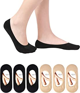6 Pack Ultra Low Cut No Show Socks Women Invisible for Flats and Dress Shoes Liner Socks with Non-Slip Heel Grips