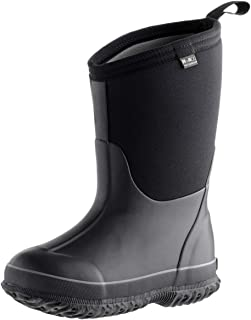 MCIKCC Kids Rubber Rain Boots, Waterproof Solid Classic Pull On Snow Wellies Boot for Children Toddler Boys Girls