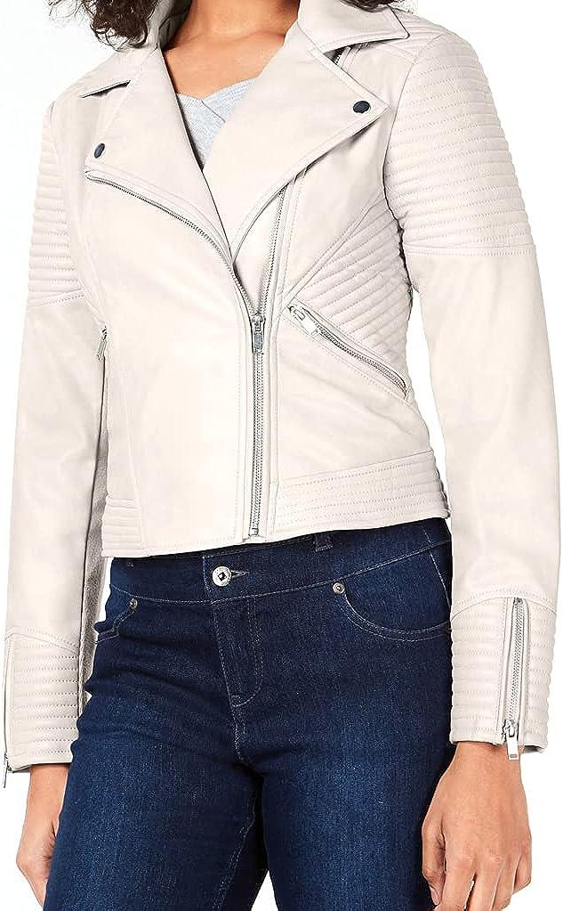 Bar III Women's Quilted Moto Jacket (White Smoke, Medium)