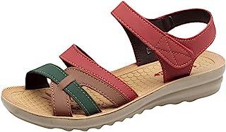 Darringls_Sandalias de Primavera Verano Mujer,Zapatos de Plataforma Plana Zapatos con Cuentas Playa Sandalias Romanas Sandalias Casuales Zapatos de Playa Bohe