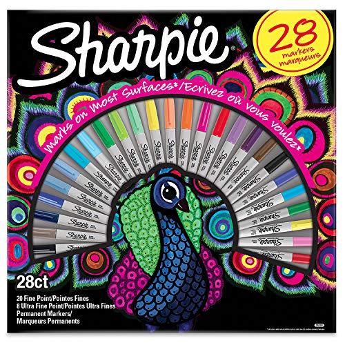 Sharpie Permanent Marker   Marker Stifte mit feinen und ultrafeinen Spitzen   exklusive Farben   28Stück Market Set