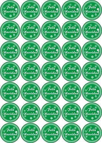 Jintora Feliz Navidad - Adhesivos de Navidad para 35 Piezas 30x30mm - Verde Vintage - Etiquetas - Stickers - Calendario de Adviento - Navidad - Adviento - Redondo - DIY Cut - Paste Gifts or Cards