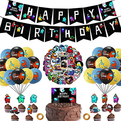 CHEN#039SPTY Among us Party Decorations Birthday Party Supplies Includes Happy Birthday Banner Balloons Cake Topper PVC Stickers