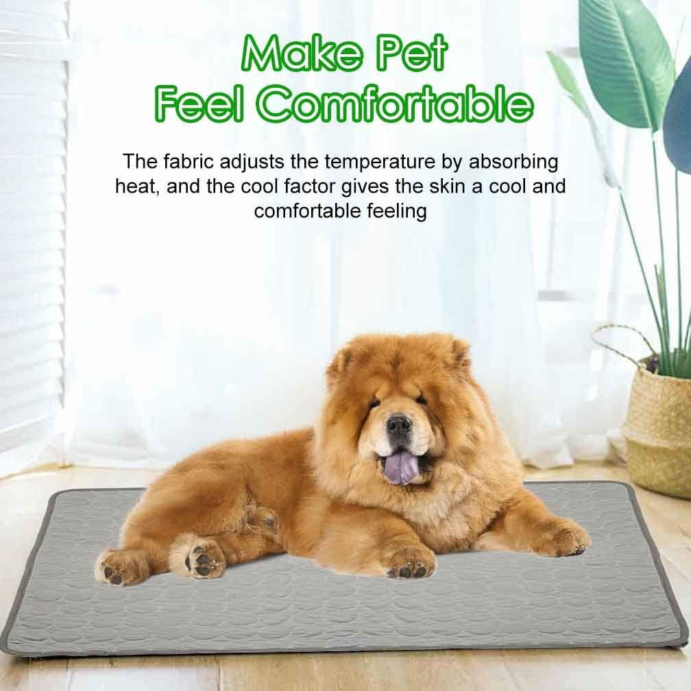 Jaaytct Cooling Mat for Dogs Cats Ice Silk Pet Self Cooling Pad Blanket Self-Cooling Mattress Pad for Pet Beds//Kennels//Couches//Floors//Car Seats Gray