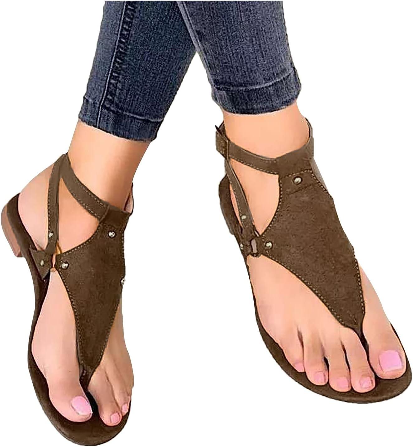 Sandals for Women Summer Bohemian Beach Flat Sandals Casual Comf