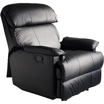 LOWYA リクライニングソファ リクライニングチェア ソファ 一人掛け レザー ブラック