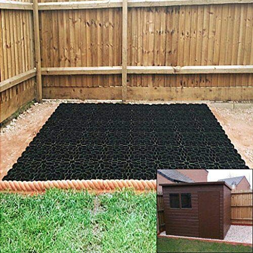 GardenerSupplies GARDEN SHED GRB HEAVY DUTY BASE GRID SYSTEM + HEAVY DUTY TERRAM WEED MEMBRANE (6ftx8ft)
