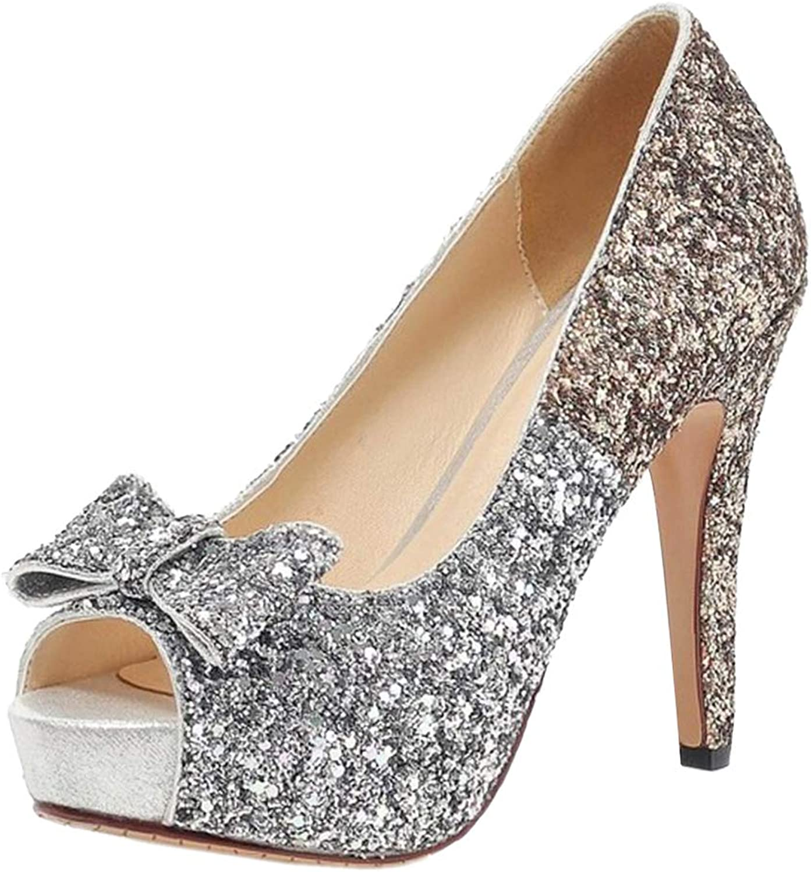 BeiaMina Women Fashion Platform Court shoes Peep Toe Heel Pumps