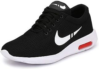 BERLOC Men's Light Weight Black Running Shoes (Black)