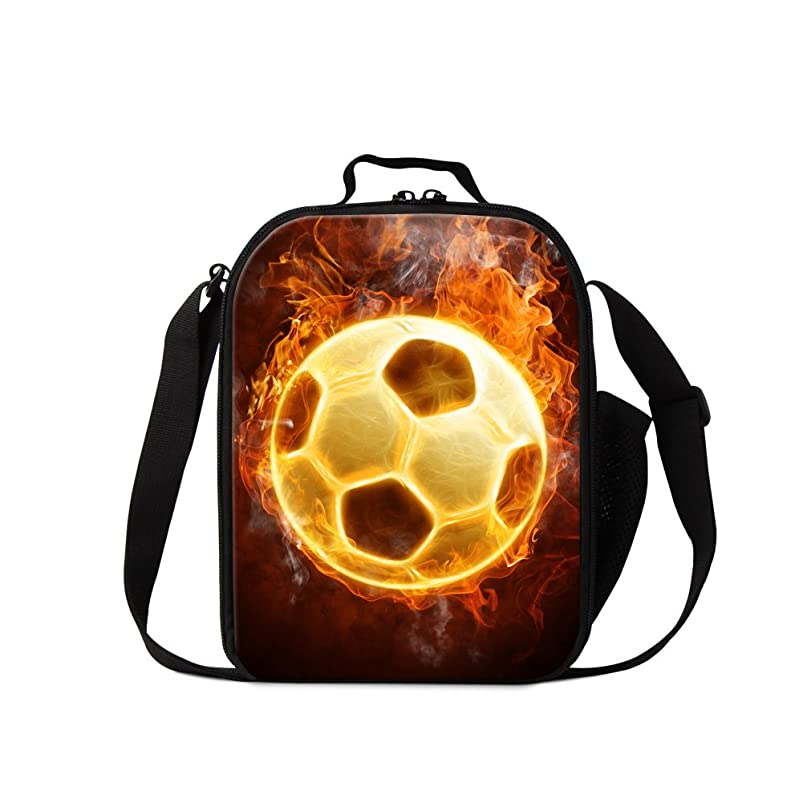 Dispalang Soccer Printed Lunch Bags for Boys Cool Insulated Cooler Bag Basketball Pattern Meal Bag for Girls gdwejumv945565