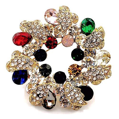 DREAMLANDSALES Brosche mit Blumen-Motiv, mehrfarbiger Kristall-Strasssteine, Blumendesign
