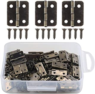 Anpatio Antique Bronze Mini Hinges 50pcs Butt Hinges 270 Degree Folding Hinge with 200pcs Replacement Screws for Wooden Jewelry Box Dollhouse Crafts 0.6 x 0.71 inches