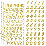 5 Sheets Graduation Cap Stickers Decoration Glitter Alphabet Letter Stickers Self-Adhesive Rhinestone Letter Number Stickers for Grad Cap Craft Decorations (Gold)