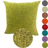 KAMIXIN Fundas De Cojines Algodón de Lino Square Decoración para Hogar Sofá Cama Coche Fundas Cojines Funda de Almohada Color Sólido Verde 55X55CM