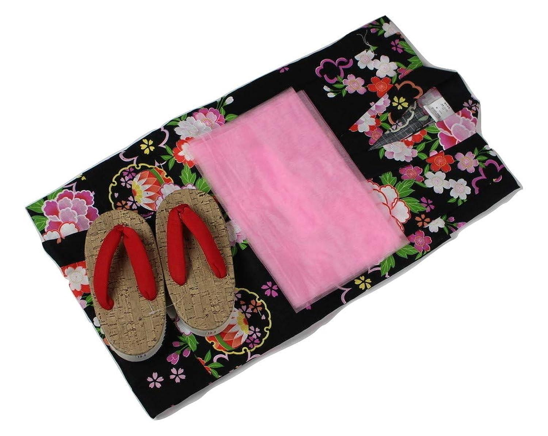 浴衣セット Kawaiina 女の子 ゆかた 黒色(紅梅織り) 3点セット KWG-17 100/120cm