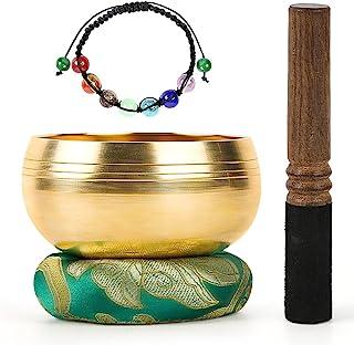 DomeStar Tibetan Singing Bowl Set, Sound Bowl Meditation Bowl Meditation Sound Bowl Handcrafted in Nepal for Healing and M...