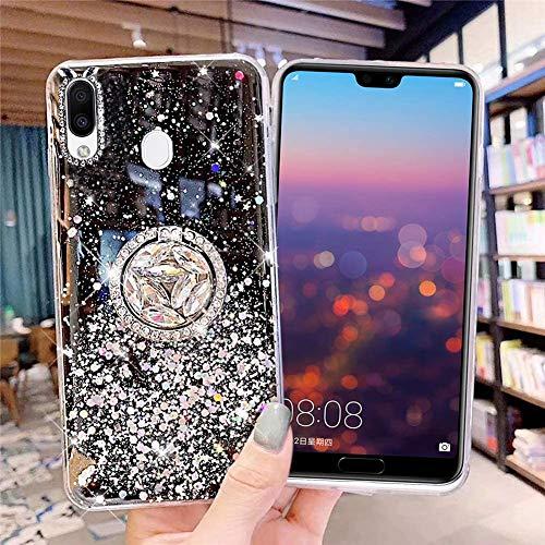 Kompatibel mit Samsung Galaxy M20 Hülle Silikon Glitzer Bling Glänzend Stern Durchsichtig Handyhülle Ultra Dünn Kristall Klar Weiche TPU Schutzhülle mit Ring Ständer für Galaxy M20,Schwarz