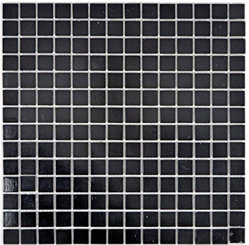 Mosaik Fliese Glas schwarz für BODEN WAND BAD WC DUSCHE KÜCHE FLIESENSPIEGEL THEKENVERKLEIDUNG BADEWANNENVERKLEIDUNG Mosaikmatte Mosaikplatte