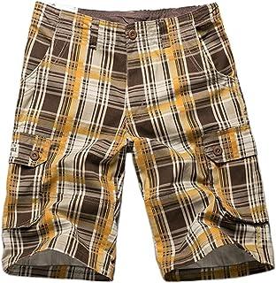 DAIHAN Mens Chino Shorts Summer Casual Shorts Bermuda Shorts Plaid Lounge Shorts Pyjama Bottoms with Multi Pockets