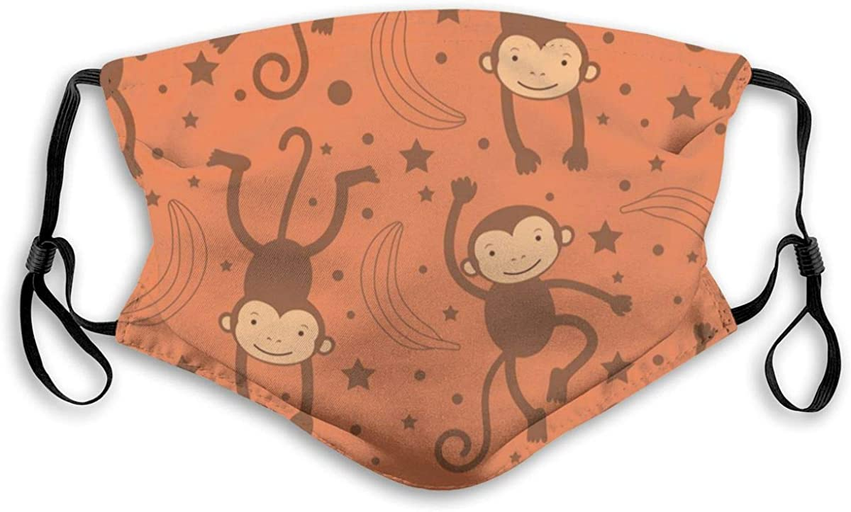 Cartoon Monkey Cute Cartoon Zoo Animal Dust Face Mask Adjustable Mouth Mask Balaclava Bandanas With Filter Paper For Kids Teens Men Women M