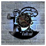 ZhangXF Fall Out Pattern Vinyl Record Wall Clock, LED Luminous 12 Inch Retro 3D Design Clock Living Room Bedroom Restaurant Wall Deco Best Gift Family Decoration Seven Colors,B