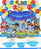 Dog Patrol Party Supplies Decoratins Set- Serve 10 Guests -167 Pcs, Birthday Packs Includes Flatwares, Cups, Tablecloth, Backdrop, Napkins, Balloon, Banner, Cakeforks for Kids Girls Boys
