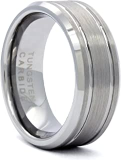 Men's Tungsten Carbide Silver Two Line Wedding Band Ring (Available Sizes 8-12)
