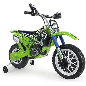 INJUSA–Moto da Cross Kawasaki A Batteria 6V per Bambini di 3Anni con Freno Elettrico E acceleratore nella Impugnatura (6775)
