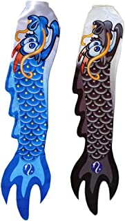 2Pcs 70cm / 30 Inch Rainbow Dragon Windsock - Fun Fish Hanging Decoration - UV Resistant Material for Long Lasting Bright Colors - Blue & Black
