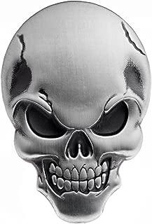3D Chrome Silver Skull Demon Bone Emblem Decal Sticker Fairing Fender Motorcycle Sport Bike