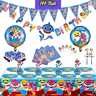 Set of 144 pcs- Baby Shark Party Supplies, Baby Shark Birthday Decorations, Shark Party Decorations, Shark Theme Birthday Party Supplies for kids