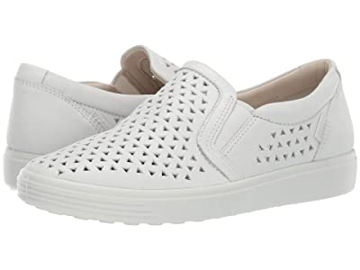 ECCO Soft 7 Laser Cut Slip-On (White Cow Leather) Women