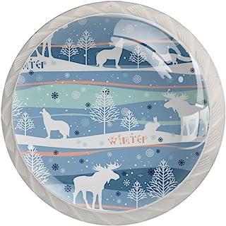 Winter Forest - Perillas decorativas sin costuras para armarios (4 piezas)