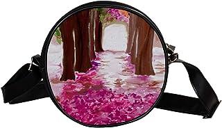 Coosun Umhängetasche für Kinder und Damen, Motiv: Frühlingswald, abstrakte Natur, rund, Schultertasche