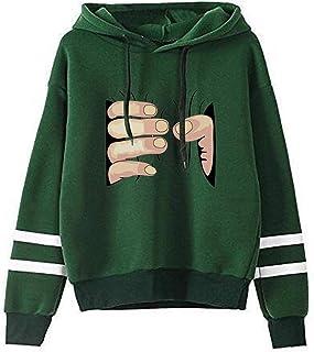 SIMYJOY Donna Non Felice Felpa con Cappuccio Lingua Fuori Cool Pullover Pianto Felpa Ins Hip Hop Streetwear per Donna Bambine e Ragazze